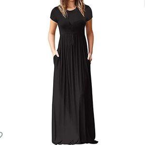 Black Short sleeve Pocket Maxi Dress